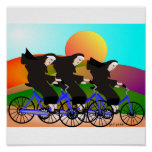 Monjas en el poster del arte de las bicis