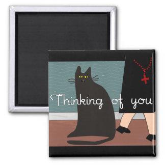 """Monjas """"que piensan en usted"""" tarjetas y diseño de imán cuadrado"""