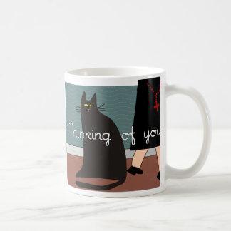 """Monjas """"que piensan en usted"""" tarjetas y diseño de taza de café"""