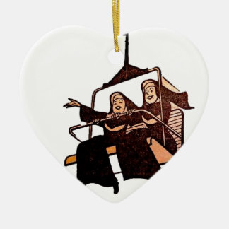 monjas que se divierten .jpg adorno navideño de cerámica en forma de corazón
