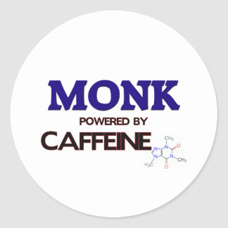 Monje accionado por el cafeína pegatinas redondas