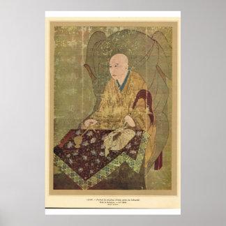 Monje asiático clásico del siglo XIV de Japón del  Poster