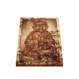 Monje del Buddhism - diseño de bambú del vintage Lienzo Envuelto Para Galerías