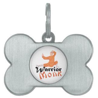 Monje del guerrero de Kung Fu Placa Mascota