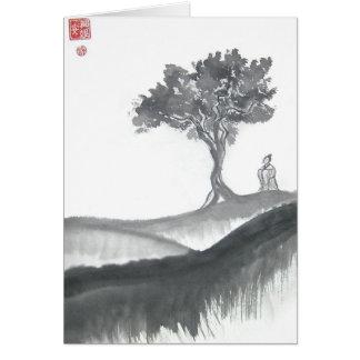 Monje del Taoist que vaga Tarjeta De Felicitación