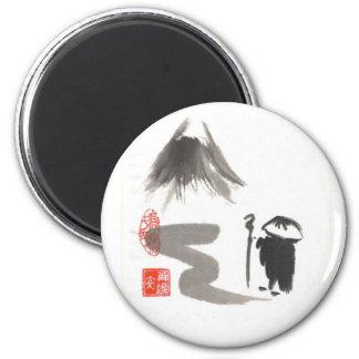 Monje del zen en viaje imán para frigorifico