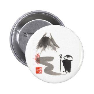 Monje del zen en viaje pin redondo de 2 pulgadas