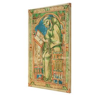 Monje Eadwine en el trabajo sobre el manuscrito, Impresión De Lienzo