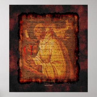 Monje gregoriano y impresión religiosa del arte de posters