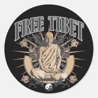 Monje libre de Tíbet Etiquetas Redondas