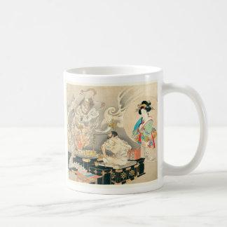 Monje que enfrenta a un demonio taza de café