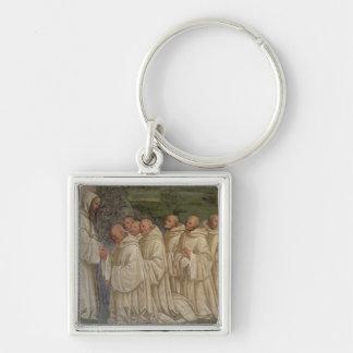Monjes benedictinos, a partir de la vida de St. Be Llavero Cuadrado Plateado