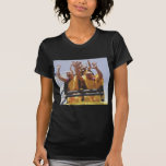 Monjes budistas felices en una montaña rusa camisetas