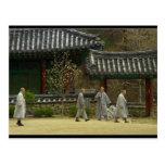 Monjes en la montaña del palgong, Corea del Sur Postales