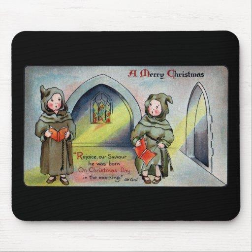 Monjes que cantan a villancico navidad antiguo tapetes de raton