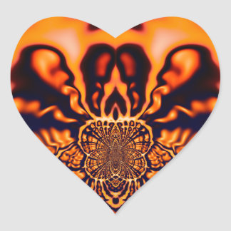 Monjes que reflexionan geometría sagrada pegatina en forma de corazón