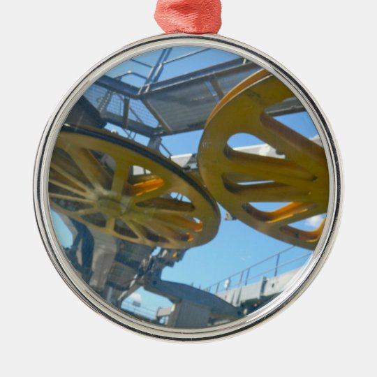 Monjuic Cable Car Gears, Aerial Tramway, Barcelona Metal Ornament