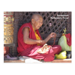 Monk at Boudha Stupa Postcard