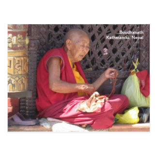 Monk at Boudha Stupa Postcards