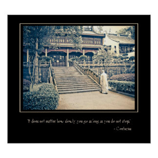 Monk at Lingyin Temple Motivational Poster