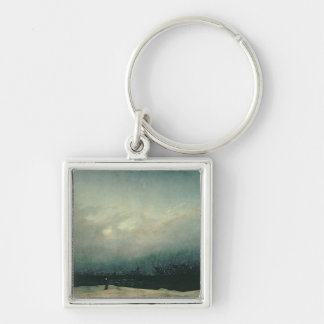 Monk by sea, 1809 Silver-Colored square keychain