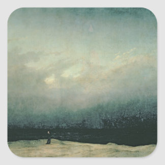 Monk by sea, 1809 square sticker