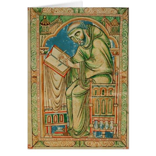 Monk Eadwine at work on the manuscript, Card