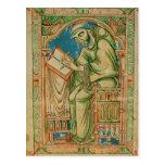 Monk Eadwine at work on the manuscript, Postcard