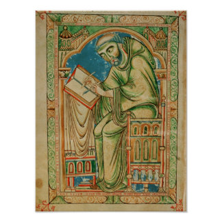 Monk Eadwine at work on the manuscript, Poster