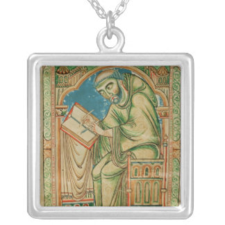 Monk Eadwine at work on the manuscript, Silver Plated Necklace