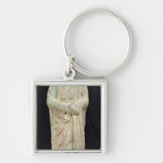 Monk, from Dunhuang, Gansu Province Silver-Colored Square Keychain