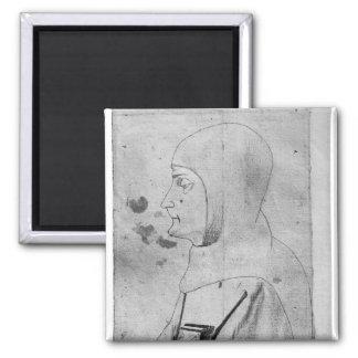 Monk, from the The Vallardi Album 2 Inch Square Magnet