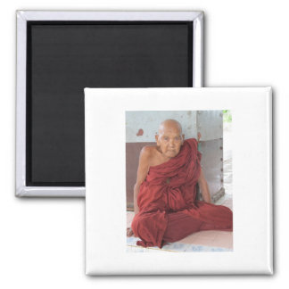 Monk in Bago, Myanmar 2 Inch Square Magnet
