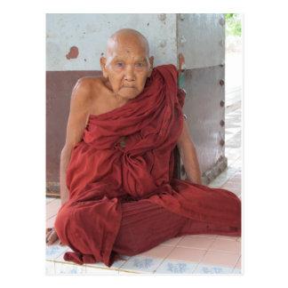Monk in Bago, Myanmar Postcard