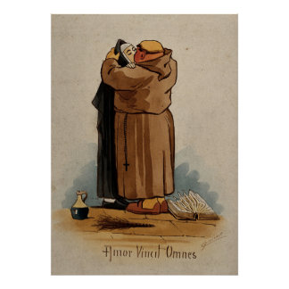 Monk kissing Nun, Love Conquers All, Latin Text Poster