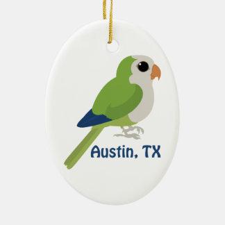 Monk Parakeet -Austin, Texas Double-Sided Oval Ceramic Christmas Ornament