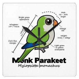 Monk Parakeet Statistics Square Wall Clock