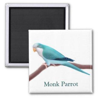 Monk Parrot 2 Inch Square Magnet