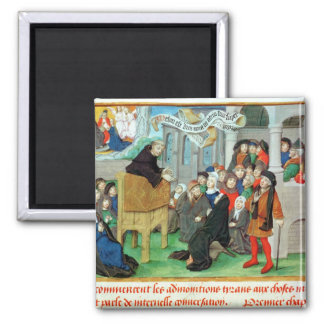Monk Preaching on Imitation 2 Inch Square Magnet