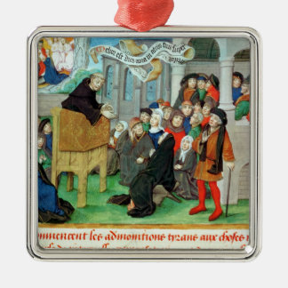 Monk Preaching on Imitation Metal Ornament
