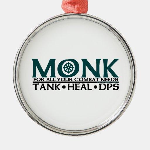 Monk Round Metal Christmas Ornament