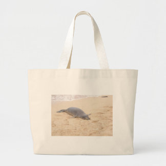 Monk Seal Sleeping Alone on Beach Large Tote Bag