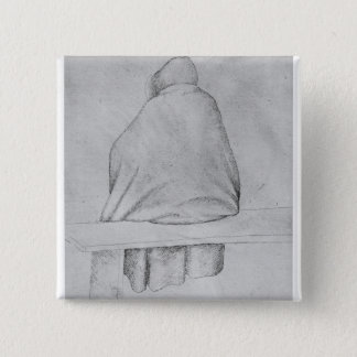 Monk seated on a bench button
