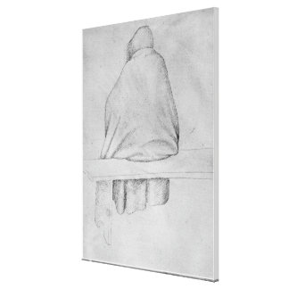 Monk seated on a bench canvas print