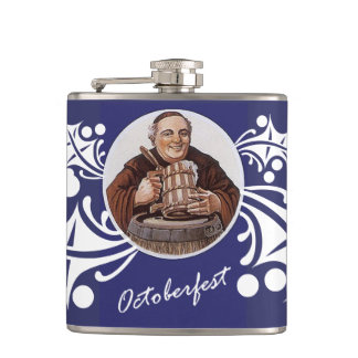 Monk & Stein of Beer Blue White edelweiss Flask