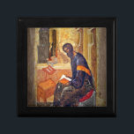 "Monk Studying Scripture Keepsake Box<br><div class=""desc"">Byzantine era icon of monk studying bible.  Art by Russian painter Andrei Rublev.</div>"