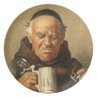 Monk with Beer Stein and Pipe Dinner Plate