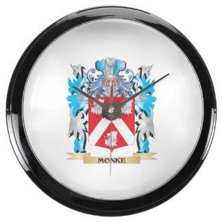 Monke Coat of Arms - Family Crest Aqua Clock