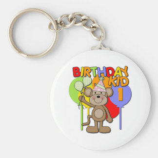 Monkey 1st Birthday Basic Round Button Keychain