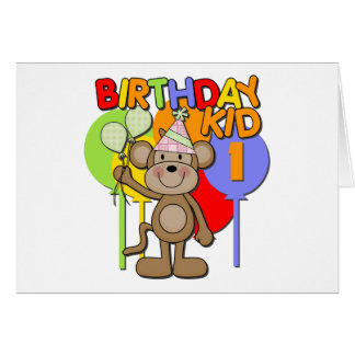 Monkey 1st Birthday Card